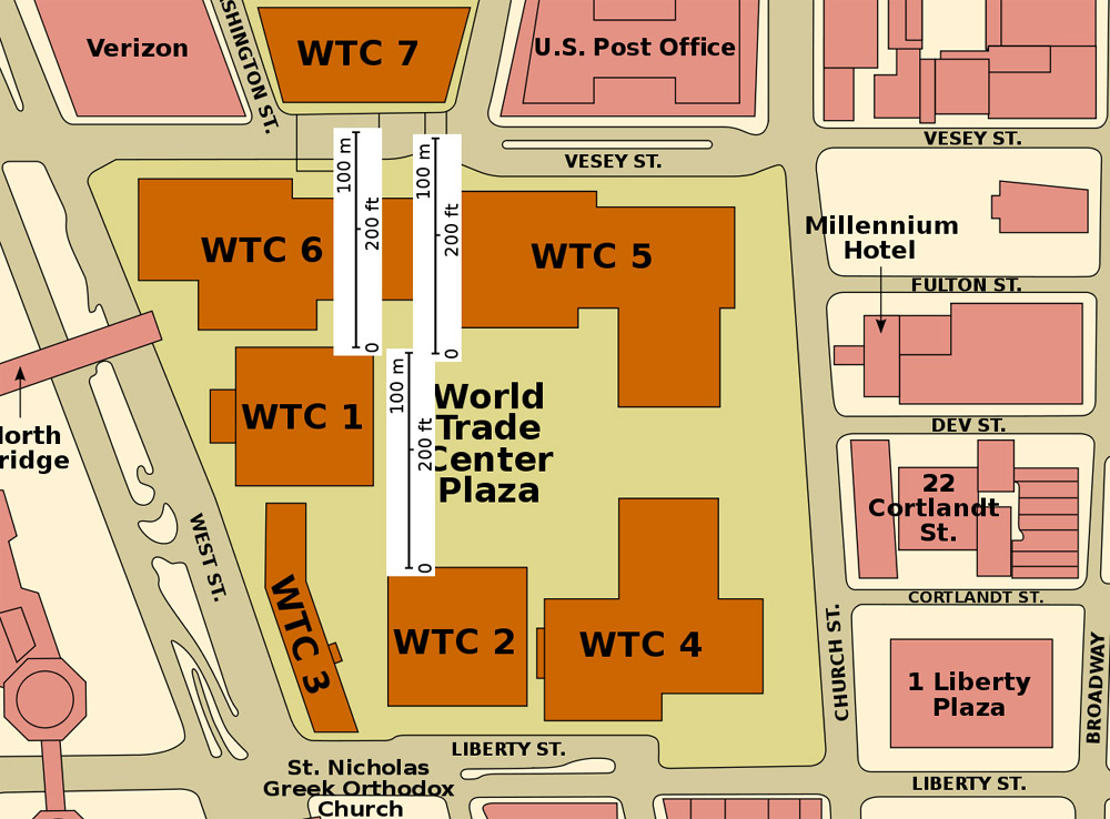 Map Of World Trade Center Before 9 11.Collapse Of 7 World Trade Center After Fires Caused By The Collapse